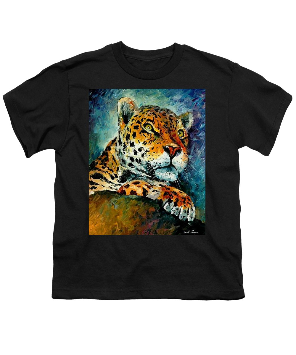Animals Youth T-Shirt featuring the painting Leopard by Leonid Afremov