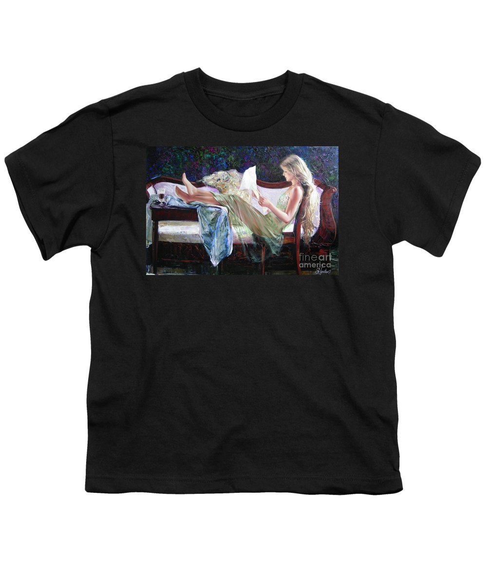 Figurative Youth T-Shirt featuring the painting Letter From Him by Sergey Ignatenko
