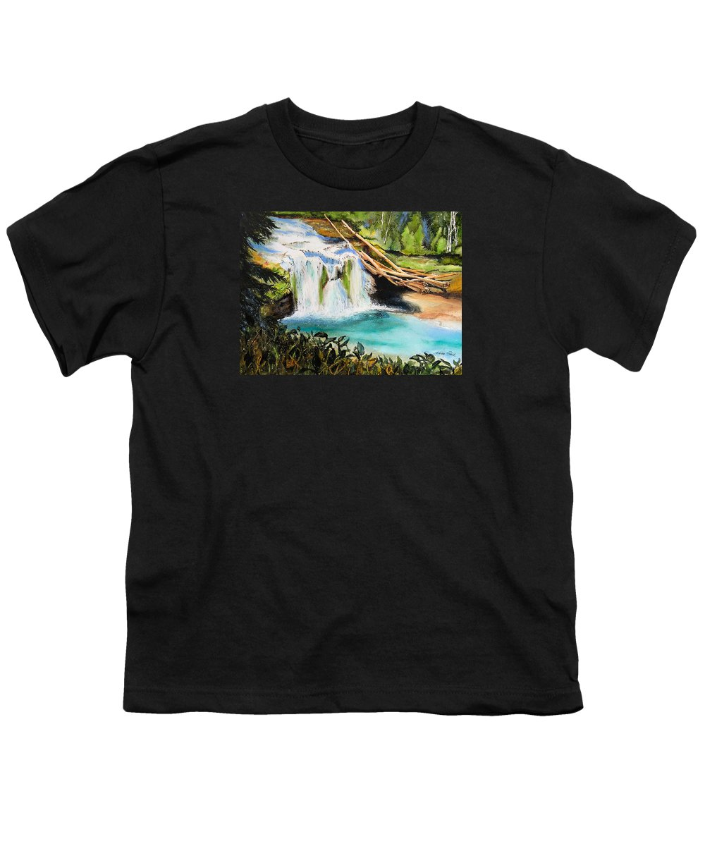 Water Youth T-Shirt featuring the painting Lewis River Falls by Karen Stark