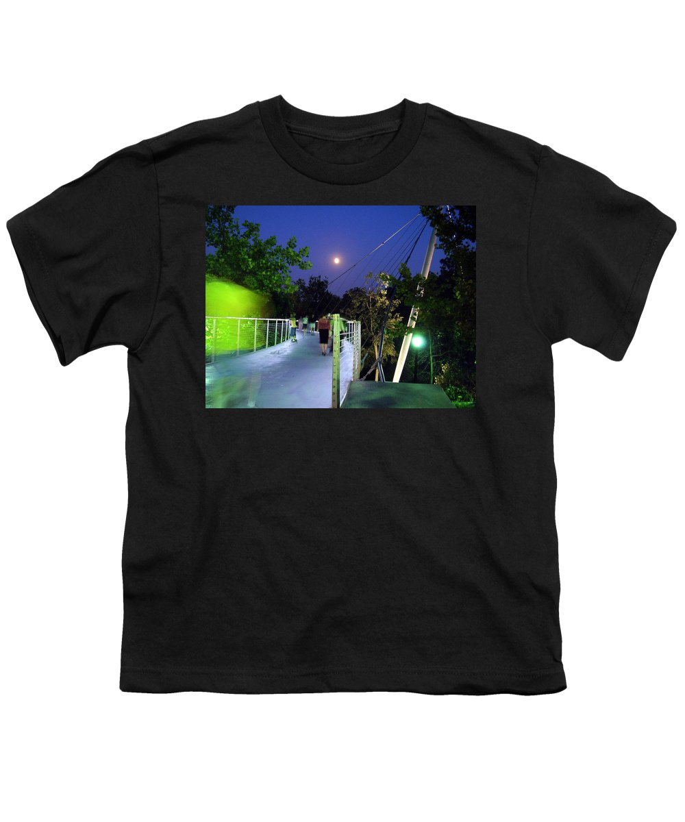 Liberty Bridge Youth T-Shirt featuring the photograph Liberty Bridge At Night Greenville South Carolina by Flavia Westerwelle