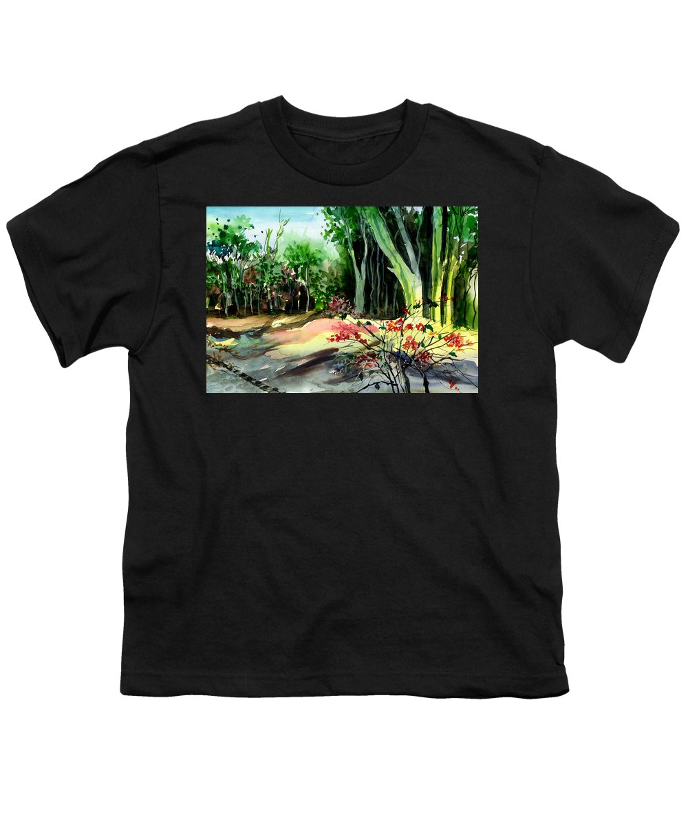Watercolor Youth T-Shirt featuring the painting Light In The Woods by Anil Nene