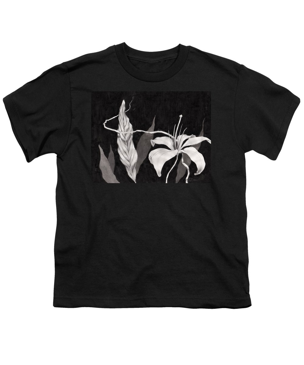 Ink Painting Youth T-Shirt featuring the drawing Lily In The Night by Jennifer McDuffie