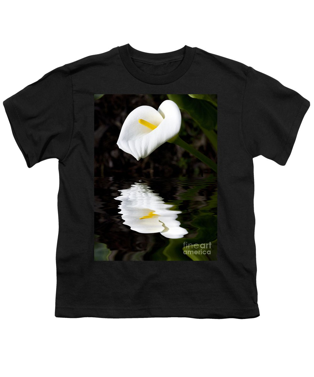 Lily Reflection Flora Flower Youth T-Shirt featuring the photograph Lily Reflection by Avalon Fine Art Photography
