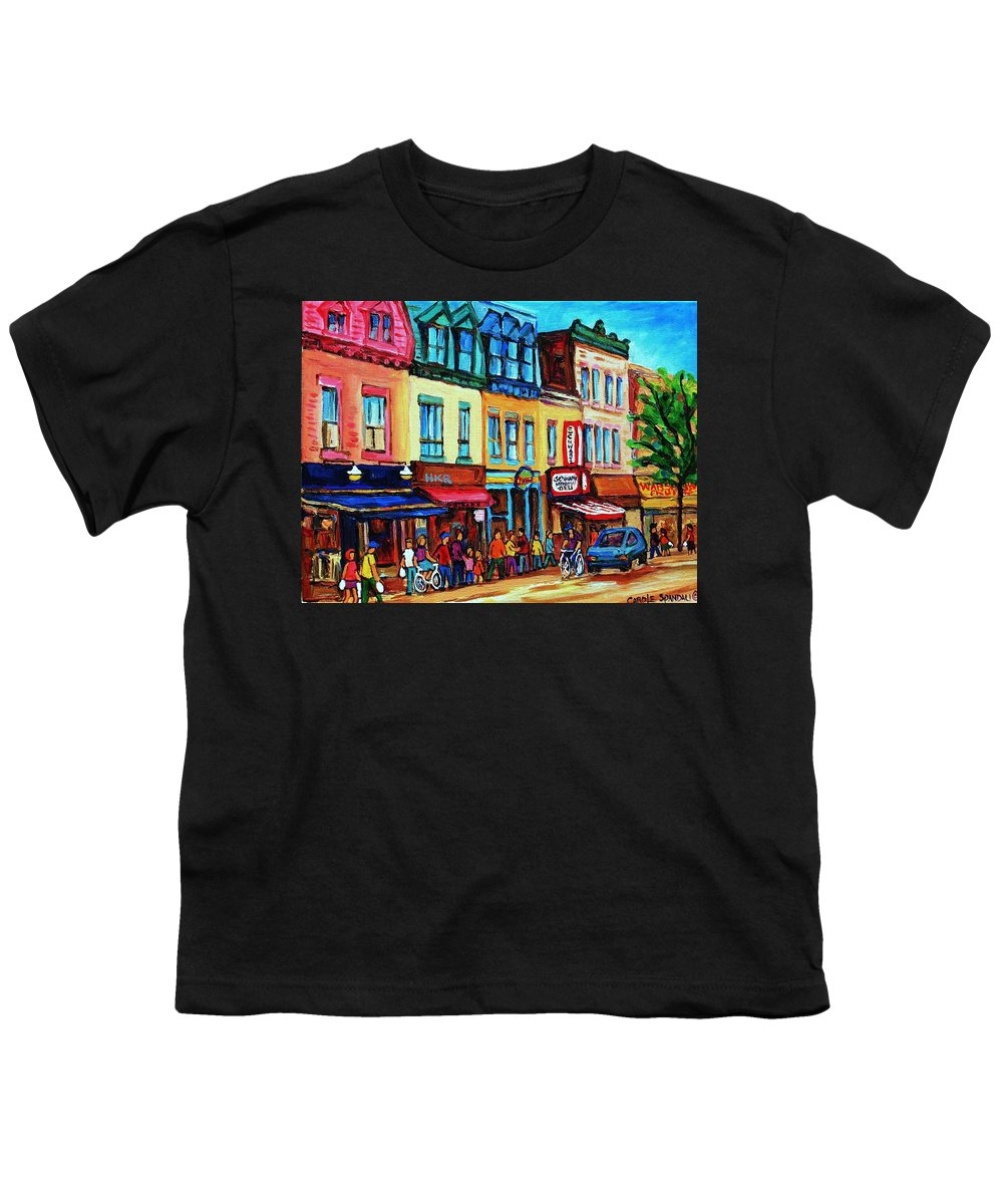 Cityscape Youth T-Shirt featuring the painting Lineup For Smoked Meat Sandwiches by Carole Spandau
