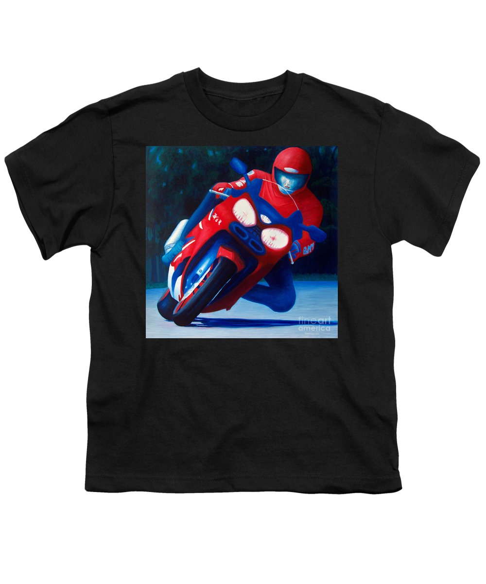 Motorcycle Youth T-Shirt featuring the painting Long Shadows - Kawasaki Zx6 by Brian Commerford