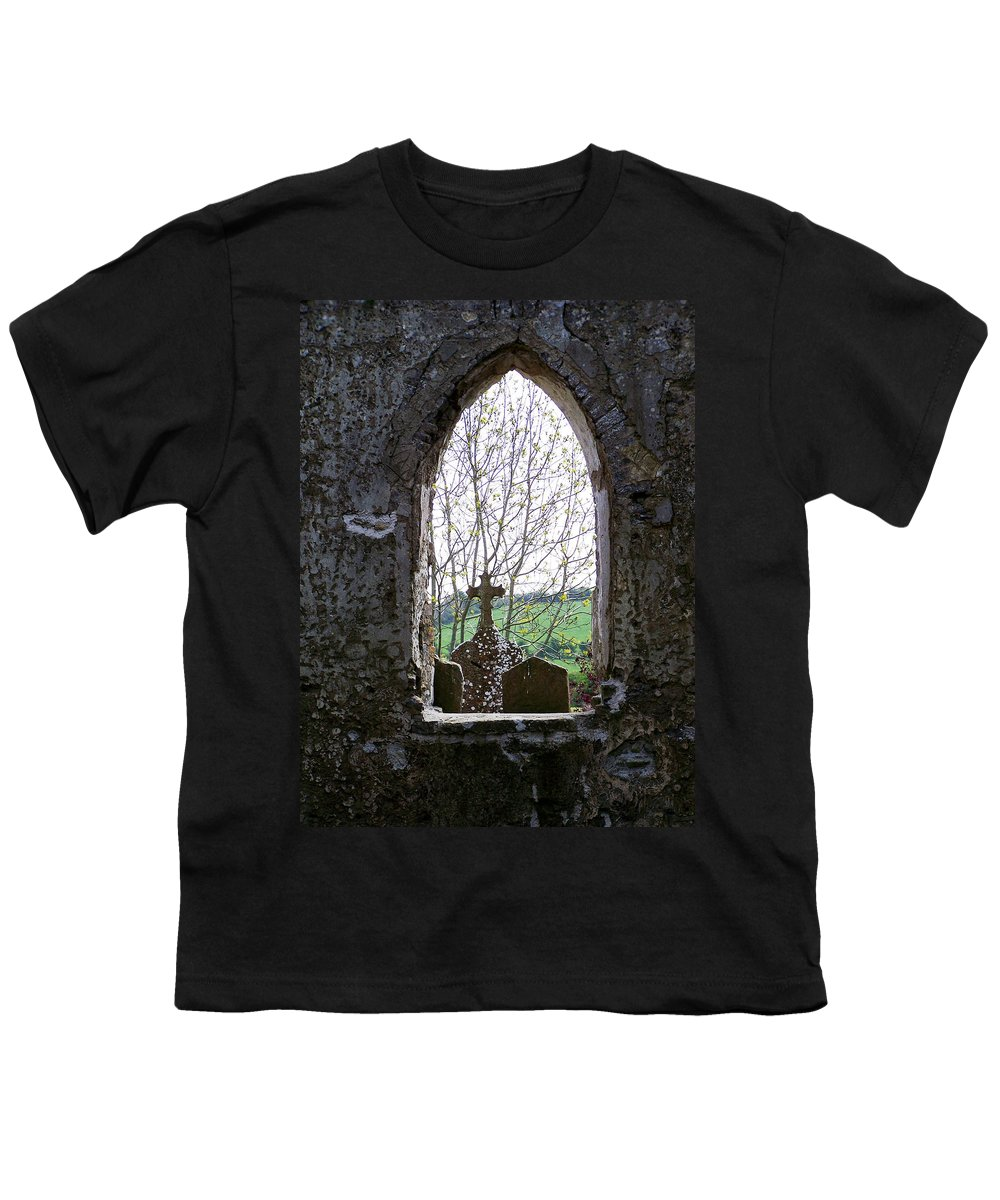 Ireland Youth T-Shirt featuring the photograph Looking Out Fuerty Church Roscommon Ireland by Teresa Mucha