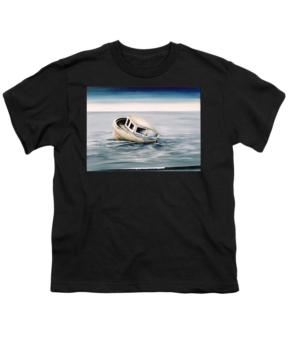 Seascape Youth T-Shirt featuring the painting Lost At Sea Contd by Mark Cawood