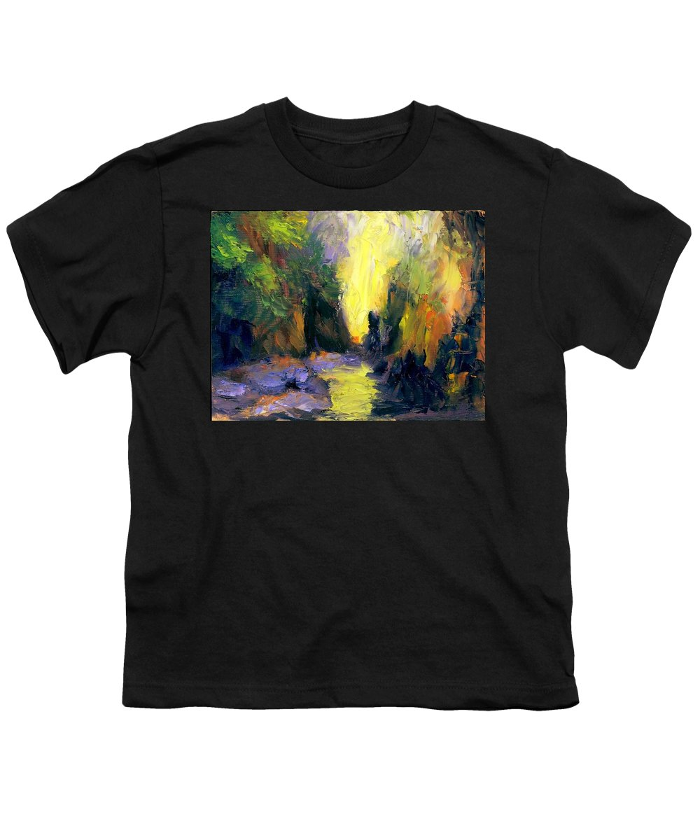 Landscape Youth T-Shirt featuring the painting Lost Creek by Gail Kirtz