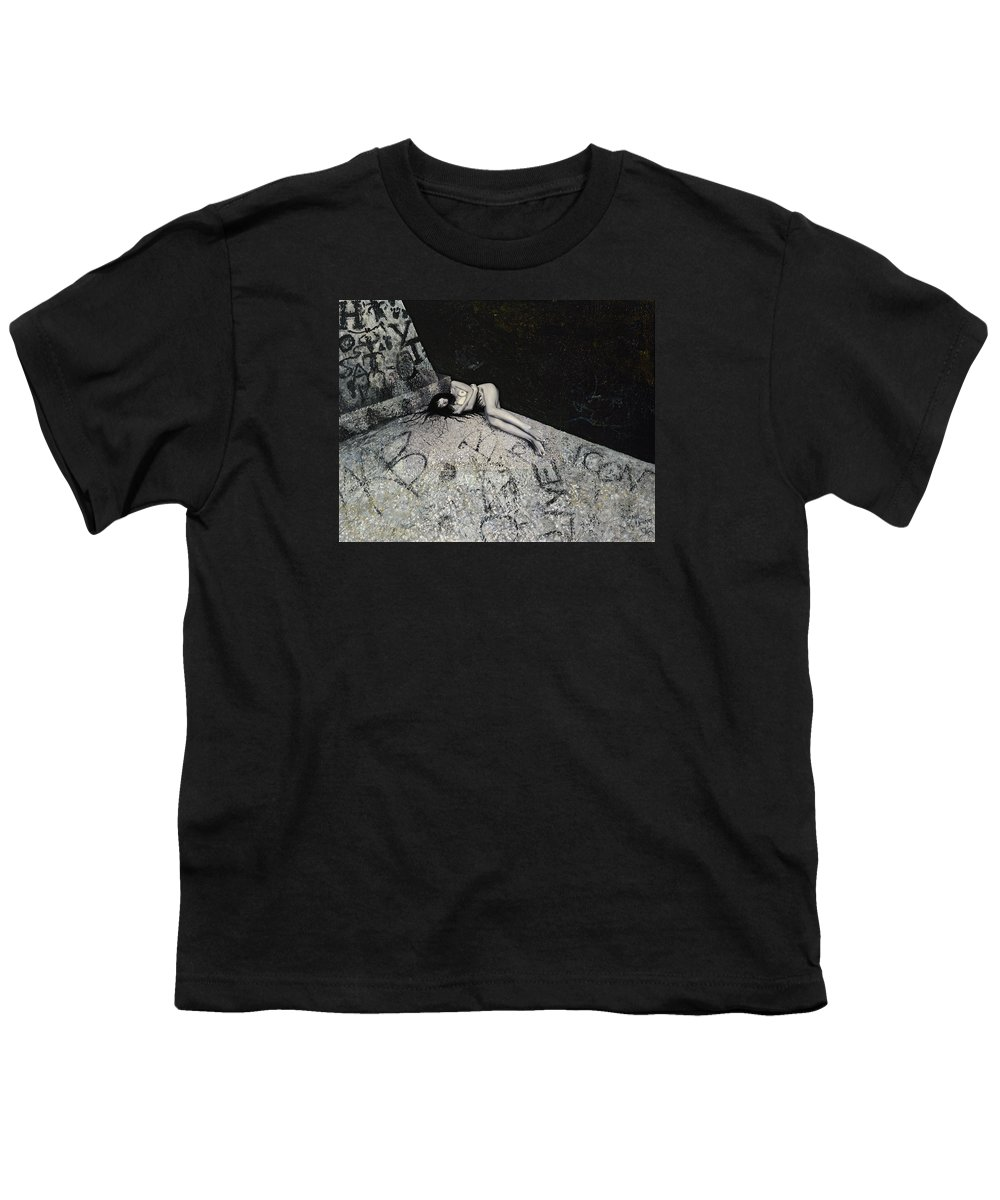 City Youth T-Shirt featuring the painting Lost In New York by Yelena Tylkina