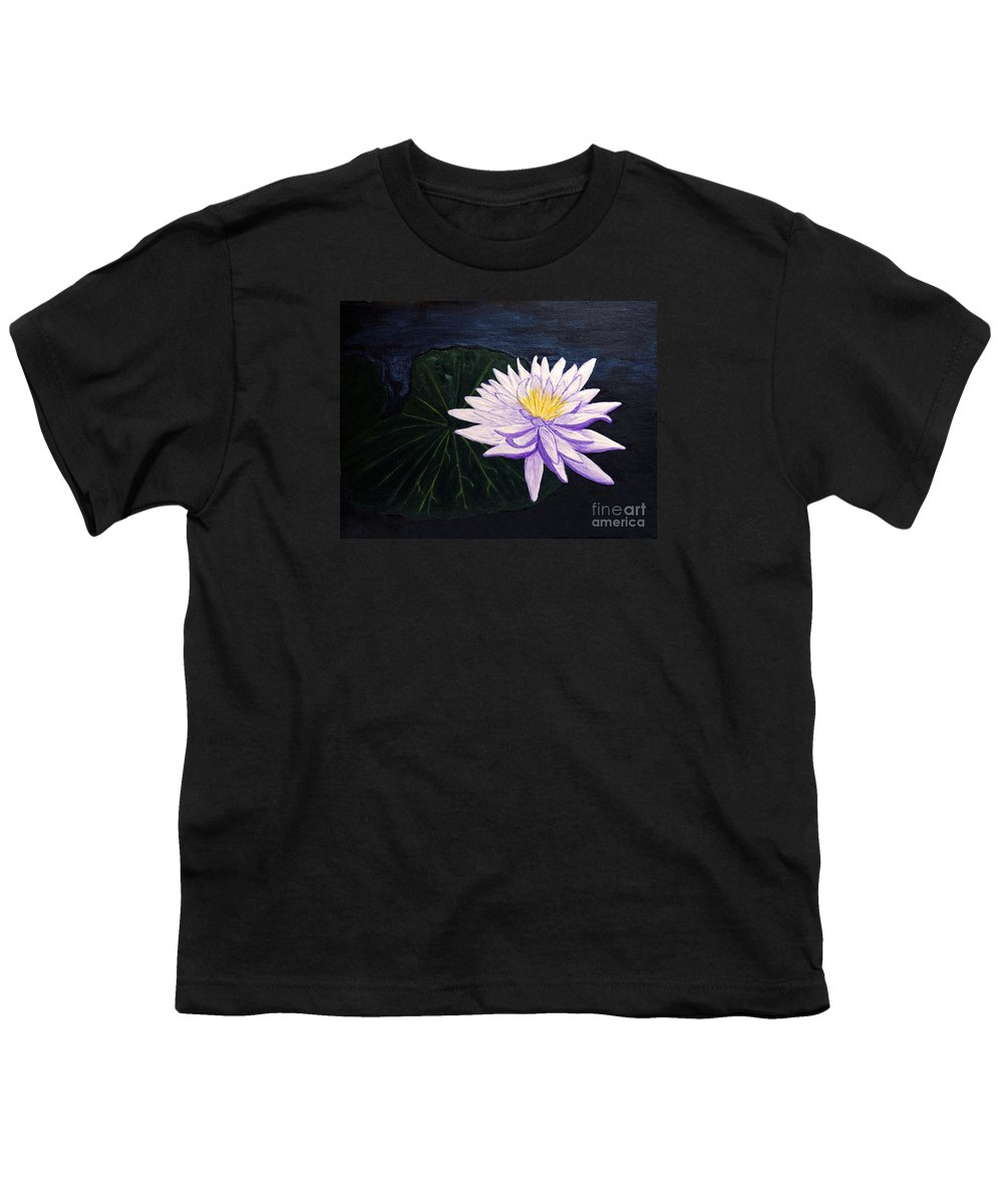 Original Painting Youth T-Shirt featuring the painting Lotus Blossom At Night by Patricia Griffin Brett