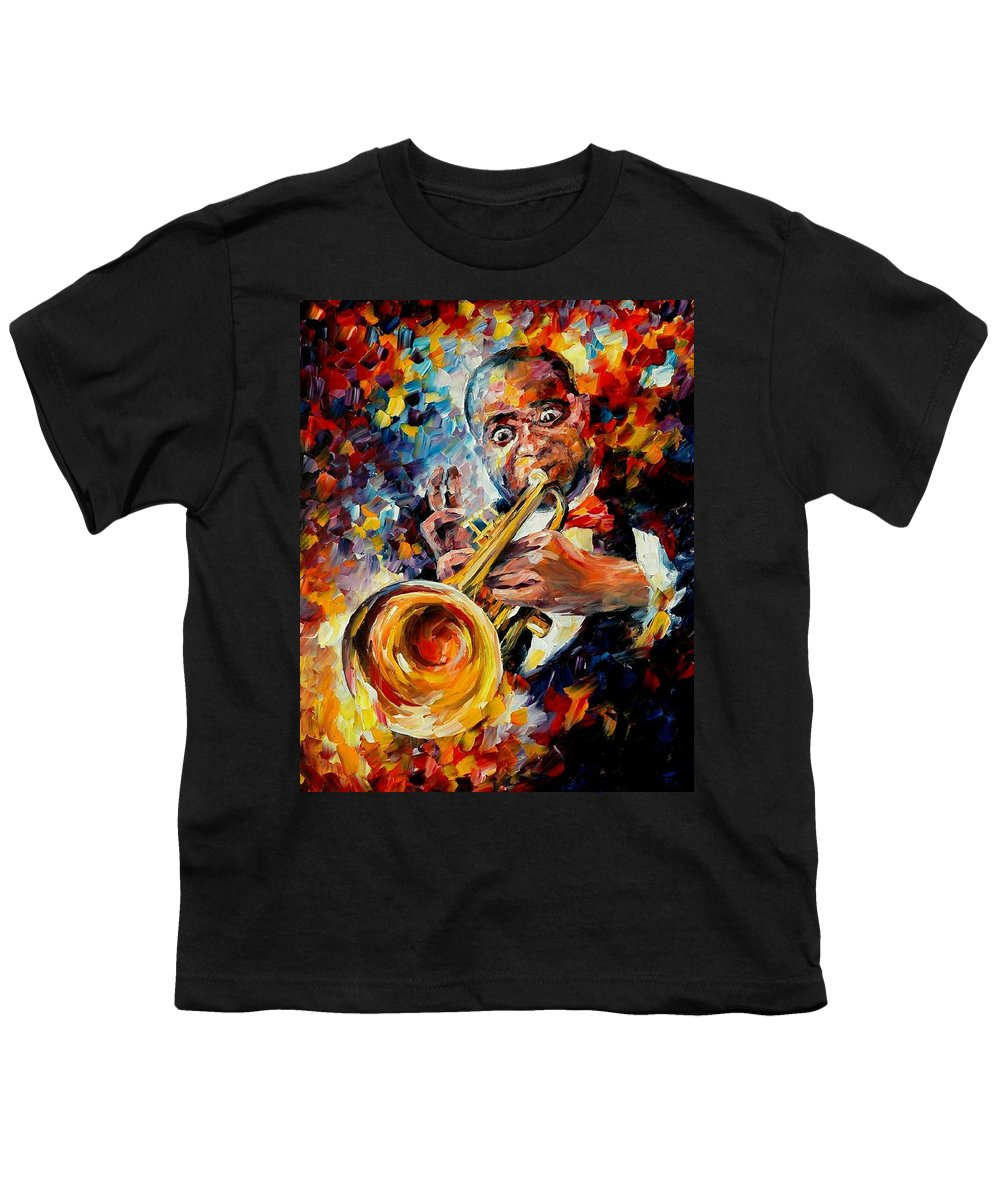Music Youth T-Shirt featuring the painting Louis Armstrong by Leonid Afremov