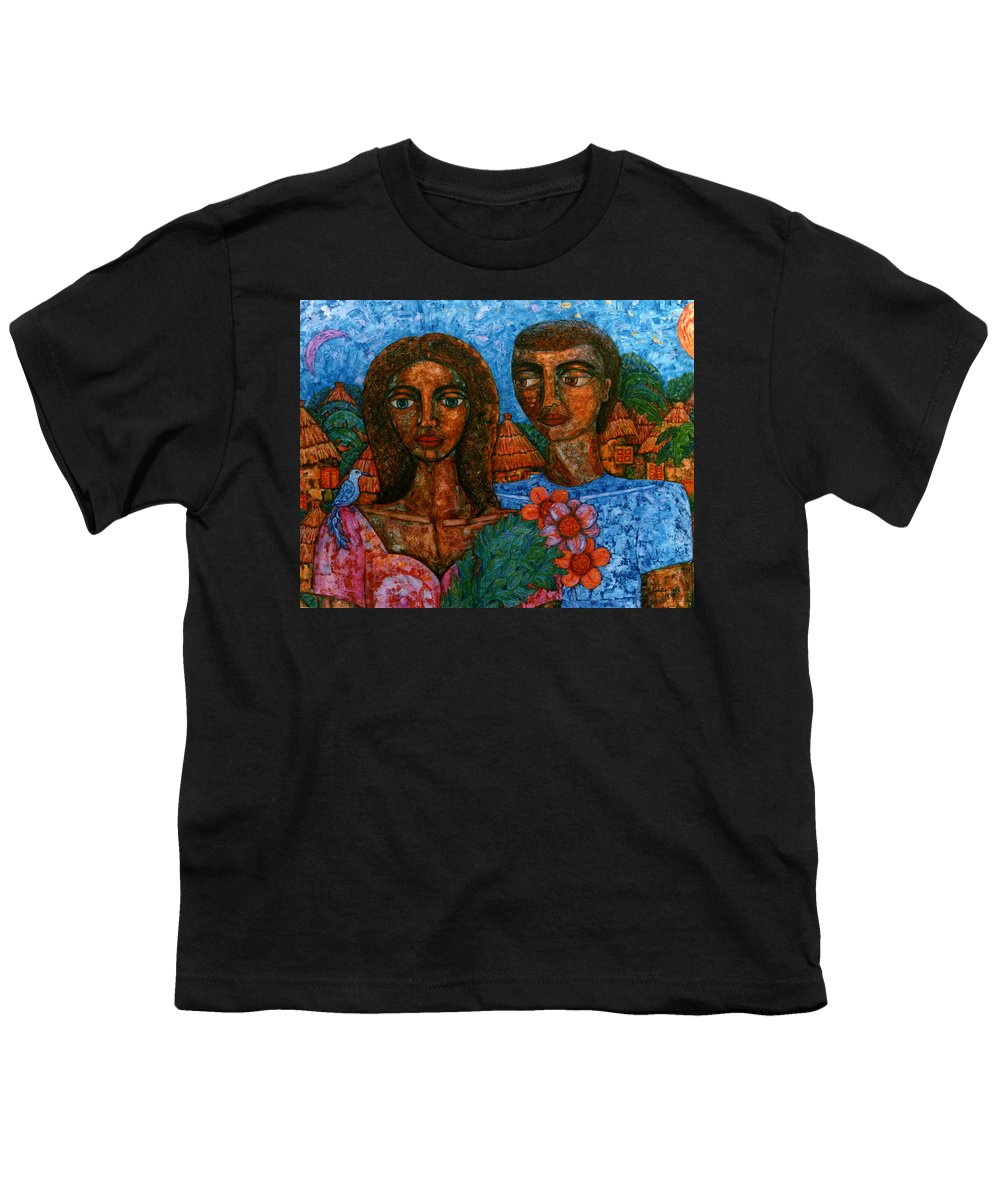 Love Youth T-Shirt featuring the painting Love Is Like A Bird by Madalena Lobao-Tello