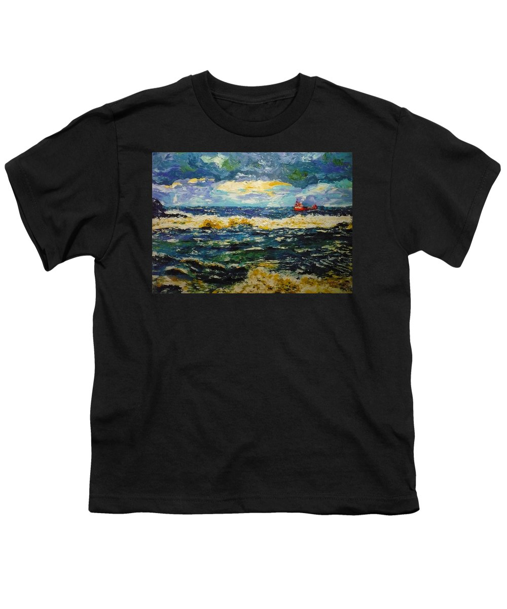 Sea Youth T-Shirt featuring the painting Mad Sea by Ericka Herazo