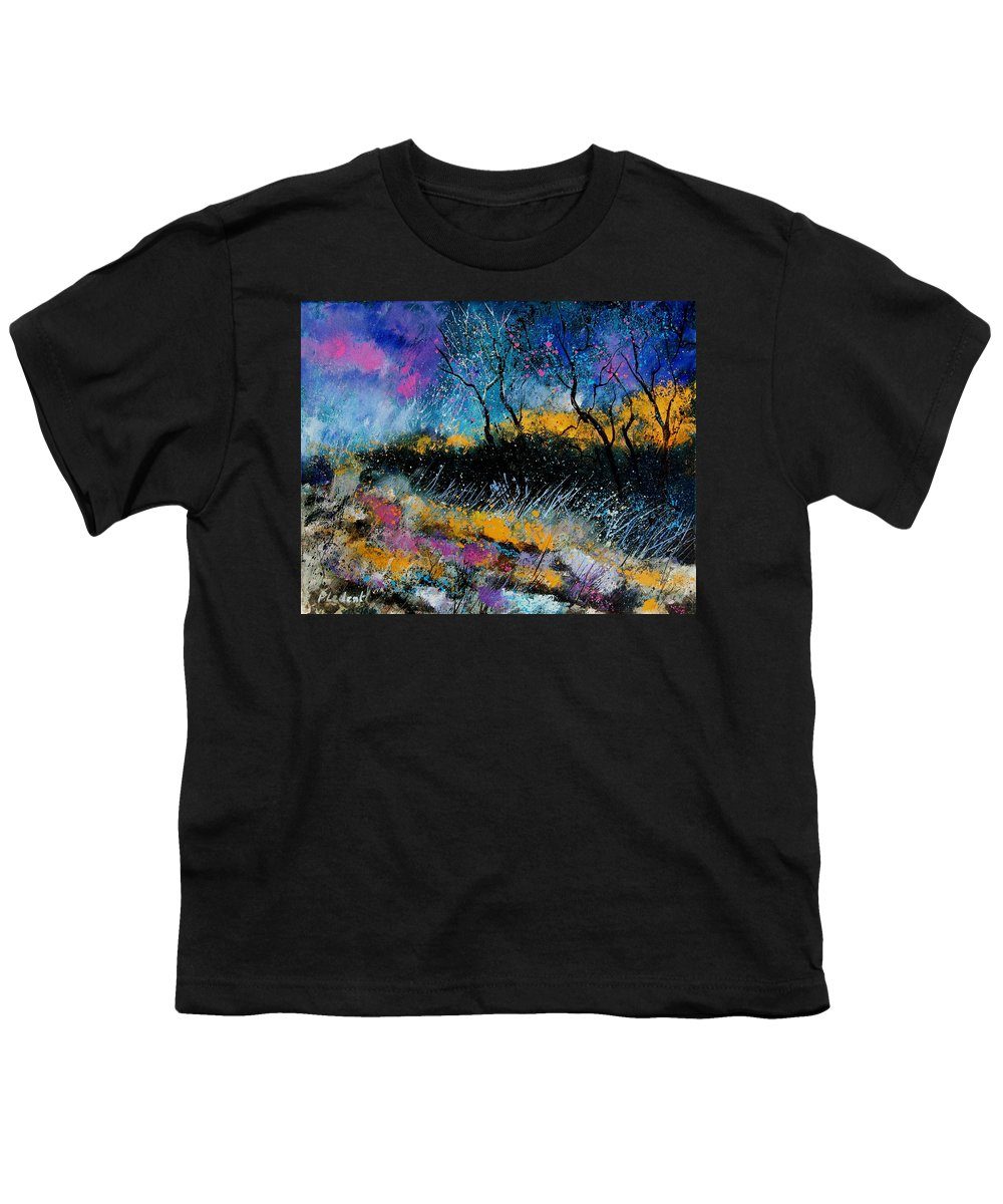 Landscape Youth T-Shirt featuring the painting Magic Morning Light by Pol Ledent