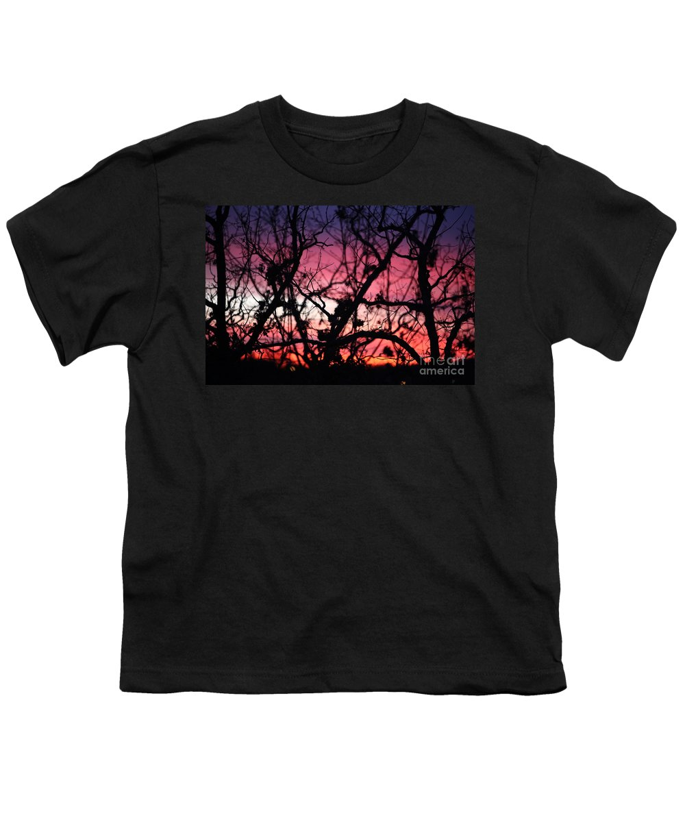 Sunset Youth T-Shirt featuring the photograph Magnificent Sunset And Trees by Nadine Rippelmeyer