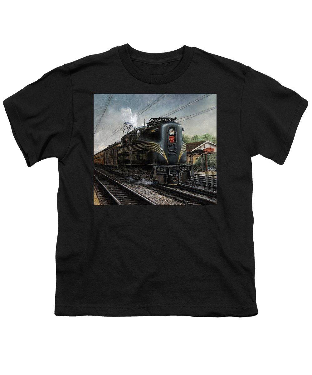 Trains Youth T-Shirt featuring the painting Mainline Memories by David Mittner