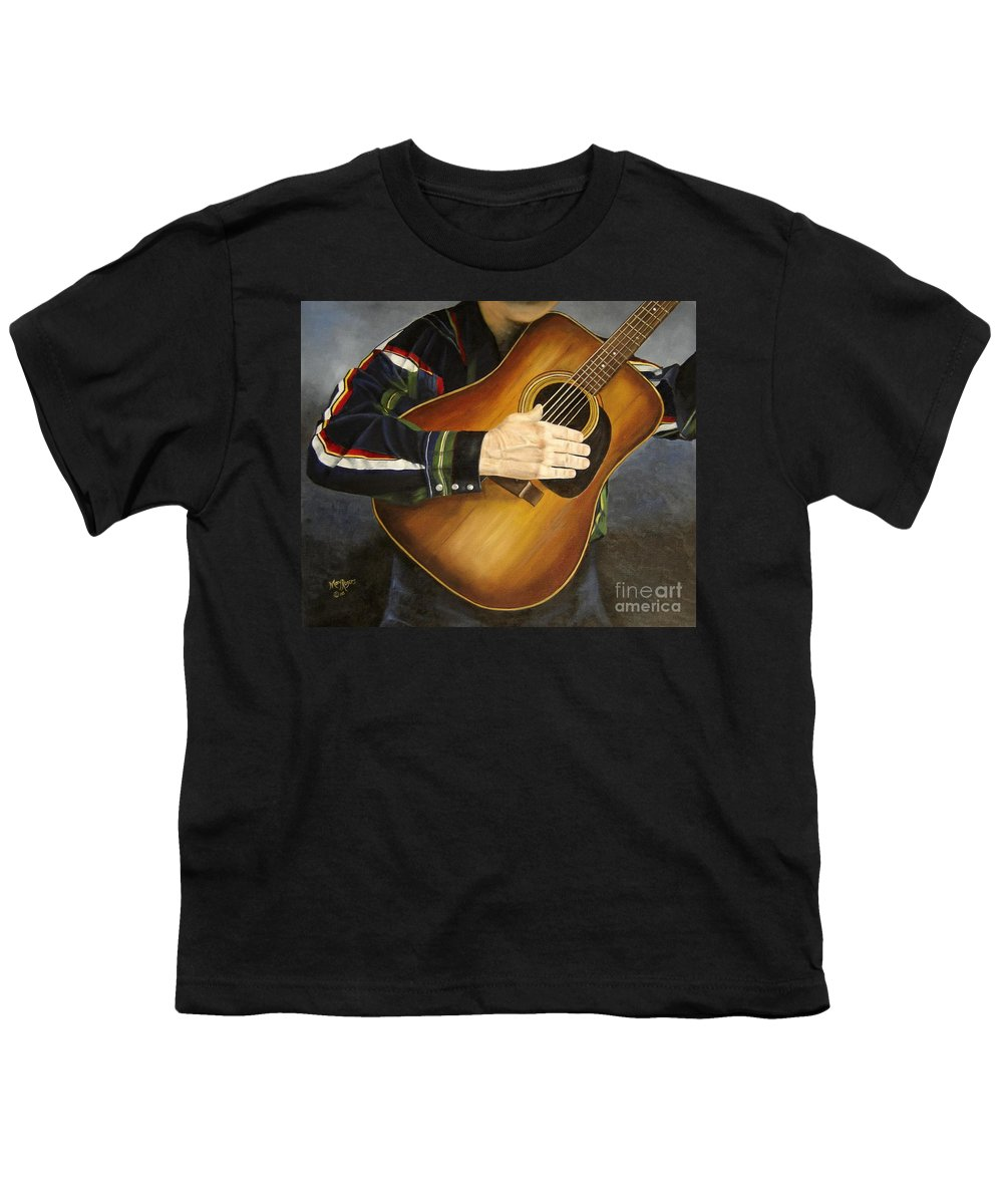 Usa Youth T-Shirt featuring the painting Making Music by Mary Rogers