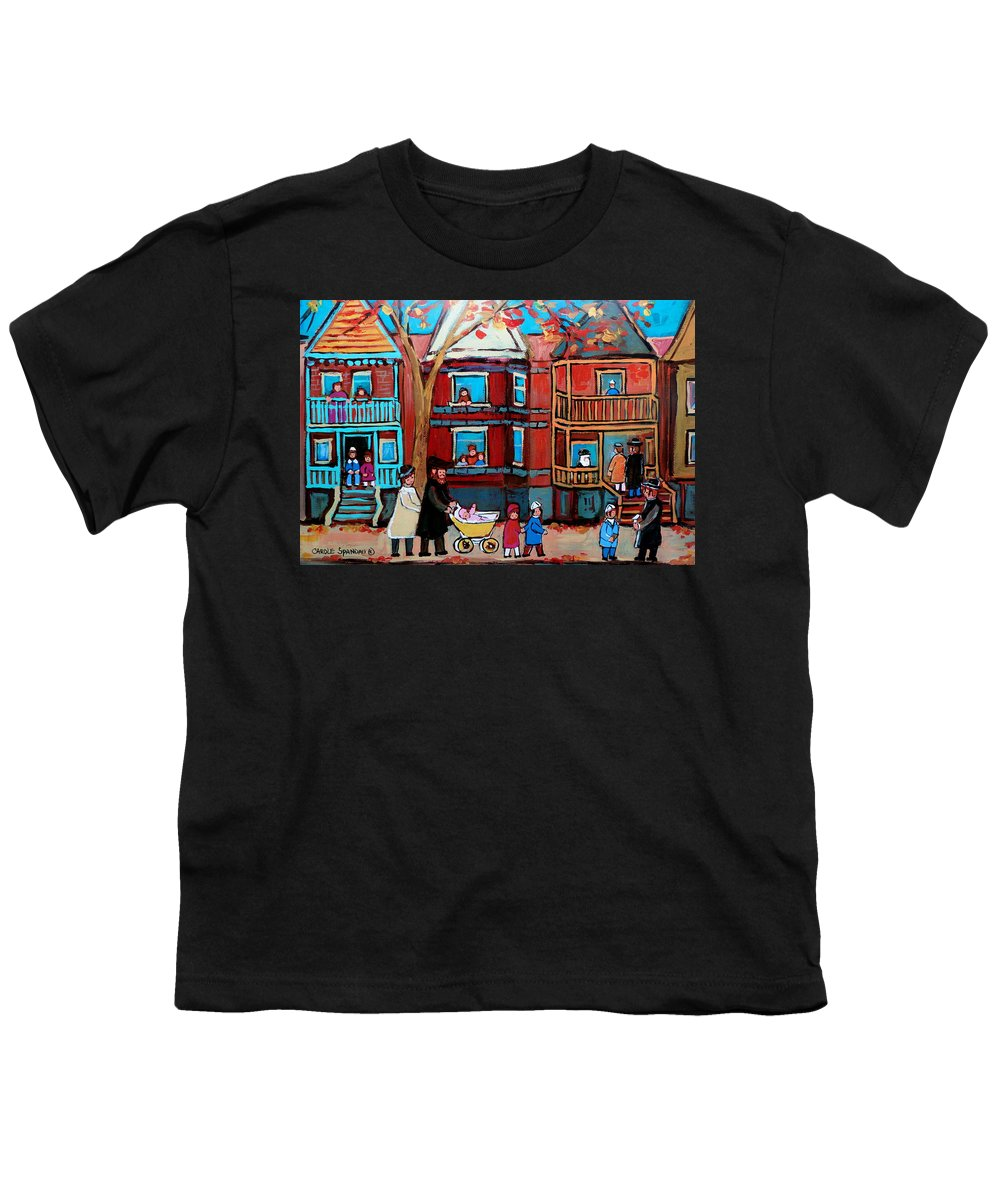 Hassidic Community Youth T-Shirt featuring the painting Mama Papa And New Baby by Carole Spandau
