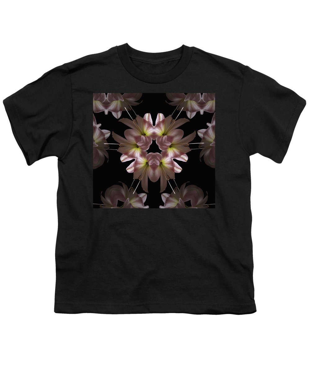 Mandala Youth T-Shirt featuring the digital art Mandala Amarylis by Nancy Griswold