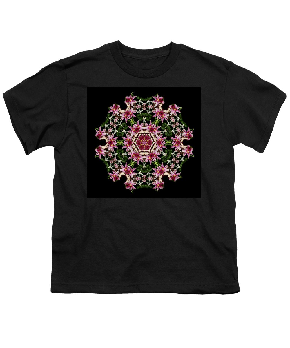 Mandala Youth T-Shirt featuring the photograph Mandala Monadala Lisa by Nancy Griswold