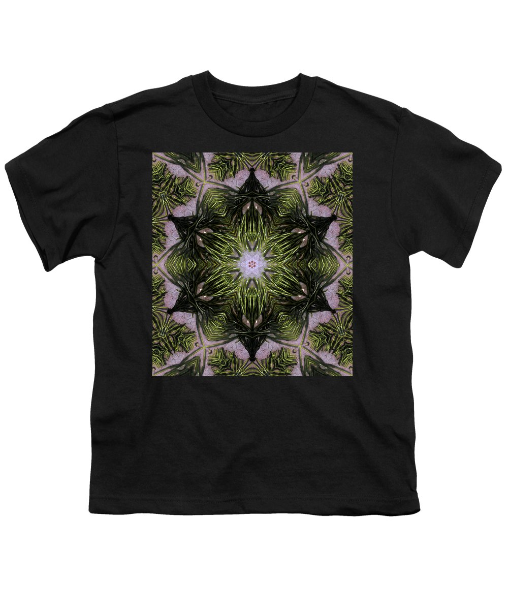 Mandala Youth T-Shirt featuring the digital art Mandala Sea Sponge by Nancy Griswold