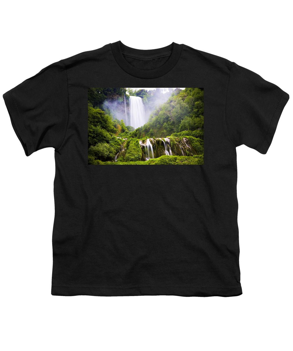 Italy Youth T-Shirt featuring the photograph Marmore Waterfalls Italy by Marilyn Hunt