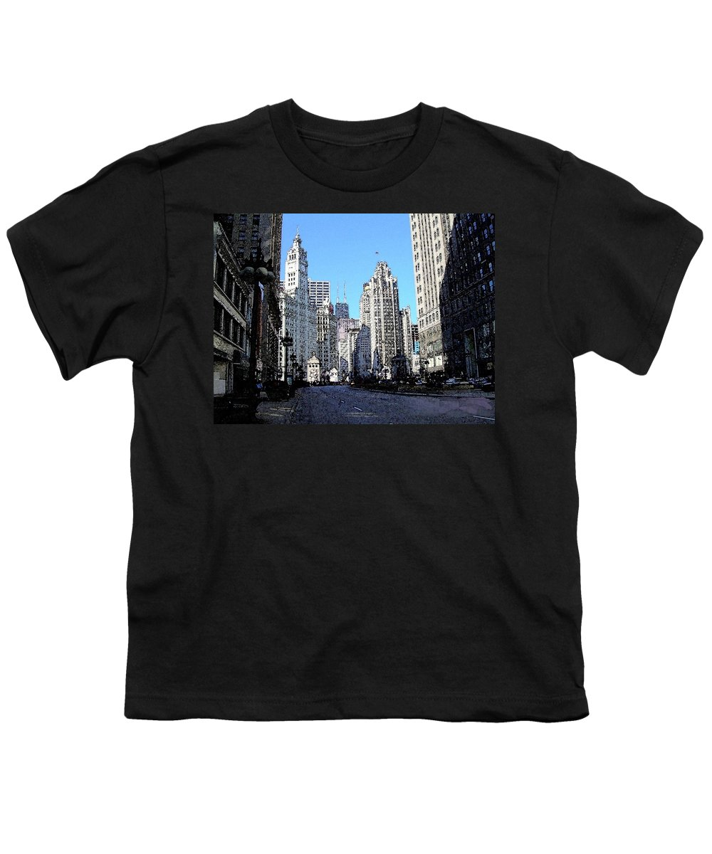 Chicago Youth T-Shirt featuring the digital art Michigan Ave Wide by Anita Burgermeister