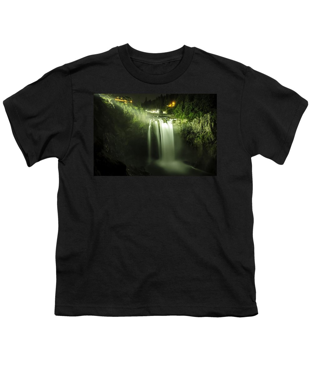 Snoqualmie Falls Youth T-Shirt featuring the photograph Midnight Curtain by Ryan McGinnis