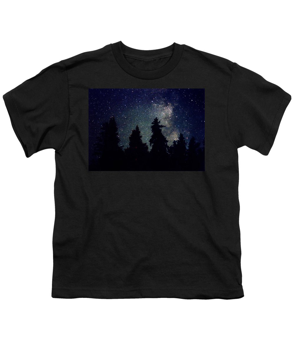 Milky Way Youth T-Shirt featuring the photograph Milky Way Above Northern Forest 22 by Lyle Crump