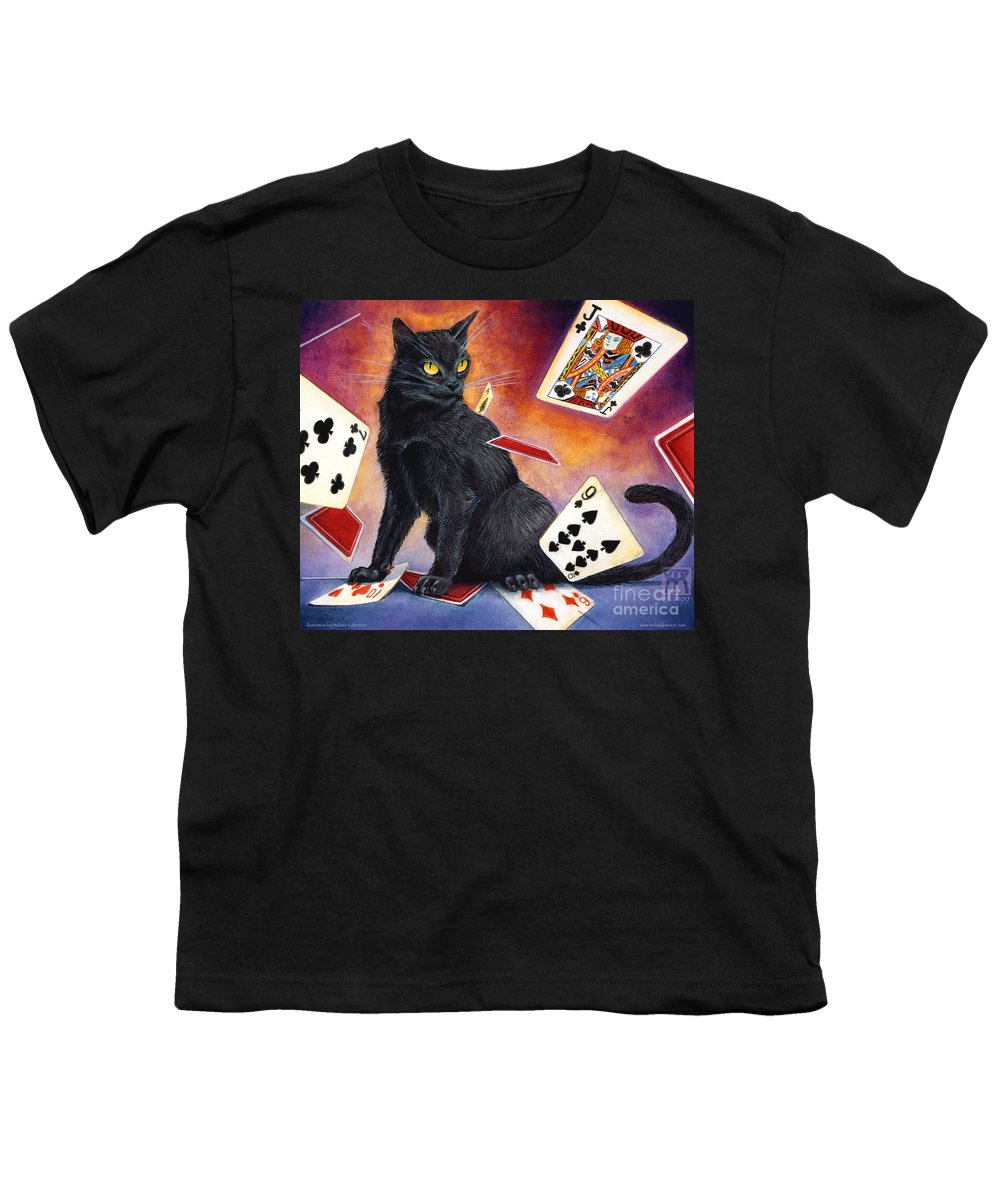 Cat Youth T-Shirt featuring the painting Mischief Kitten by Melissa A Benson