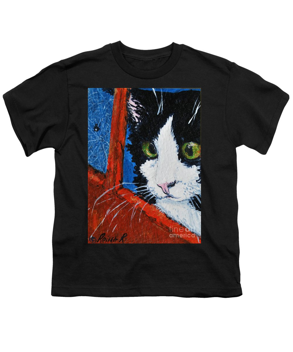 Cat Youth T-Shirt featuring the painting Molly by Reina Resto