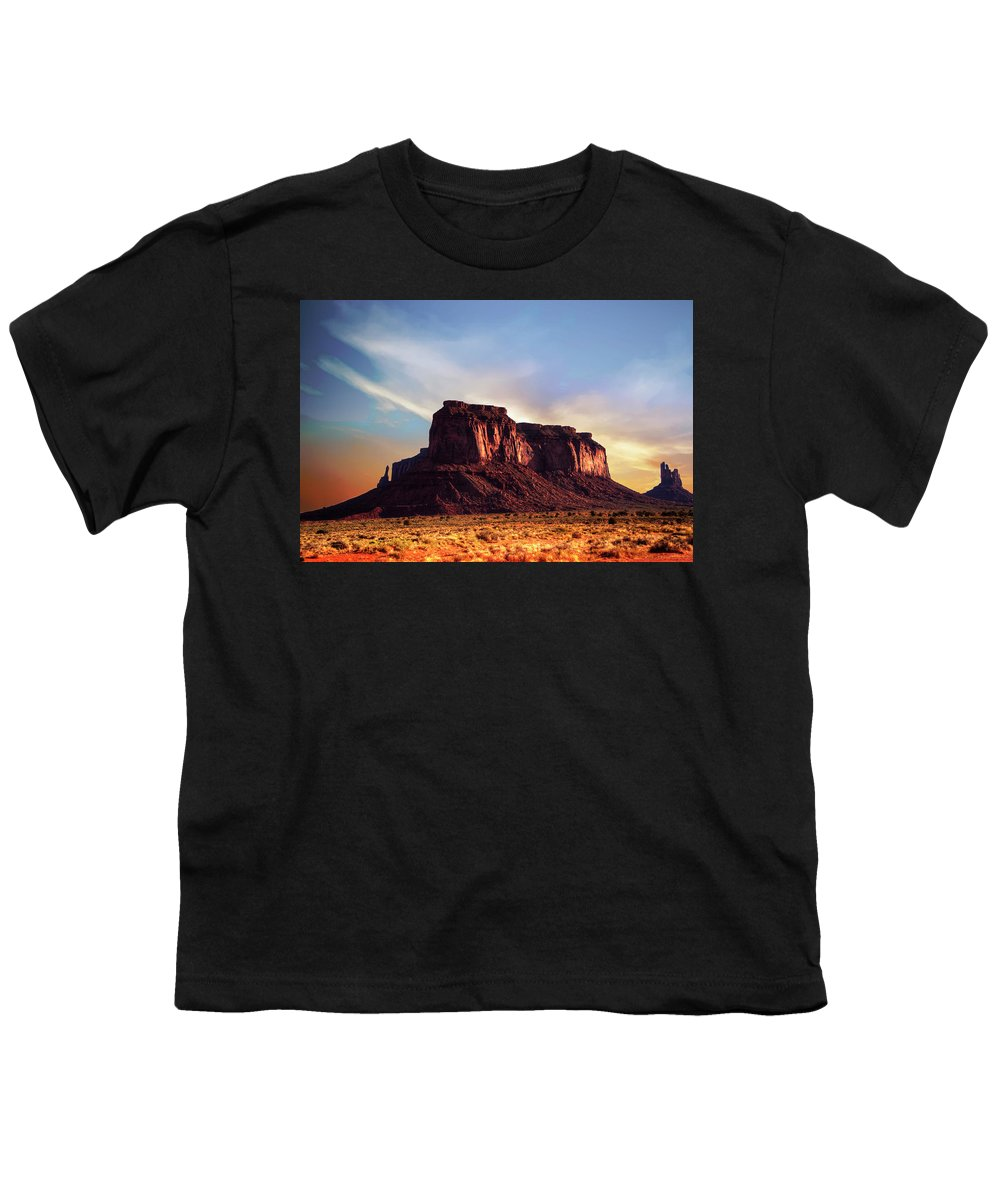 Monument Valley Youth T-Shirt featuring the photograph Monument Valley sunset by Roy Nierdieck