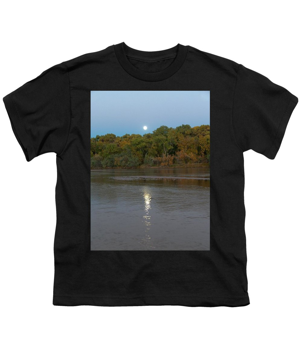 Moonlight Youth T-Shirt featuring the photograph Moonlight On The Rio Grande by Tim McCarthy