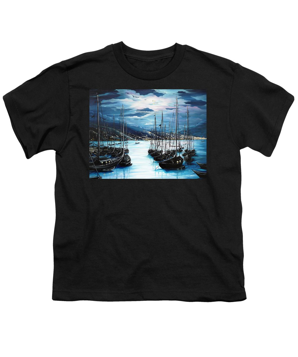 Ocean Painting  Caribbean Seascape Painting Moonlight Painting Yachts Painting Marina Moonlight Port Of Spain Trinidad And Tobago Painting Greeting Card Painting Youth T-Shirt featuring the painting Moonlight Over Port Of Spain by Karin Dawn Kelshall- Best