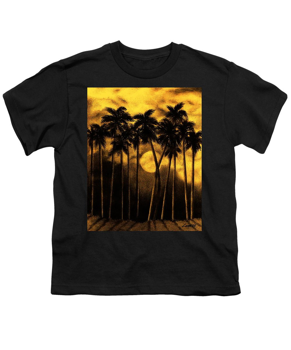 Moonlit Palm Trees In Yellow Youth T-Shirt featuring the mixed media Moonlit Palm Trees In Yellow by Larry Lehman