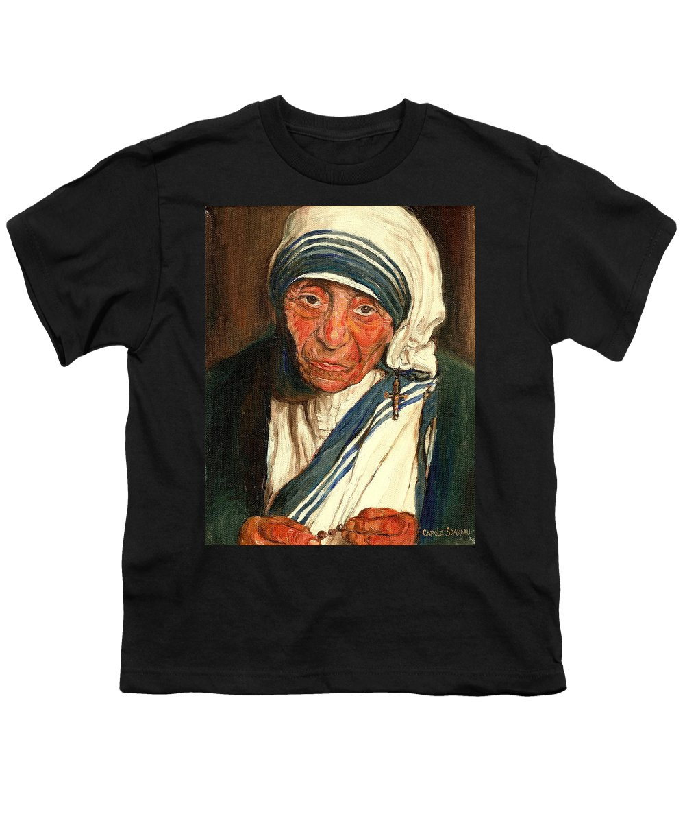 Mother Teresa Youth T-Shirt featuring the painting Mother Teresa by Carole Spandau