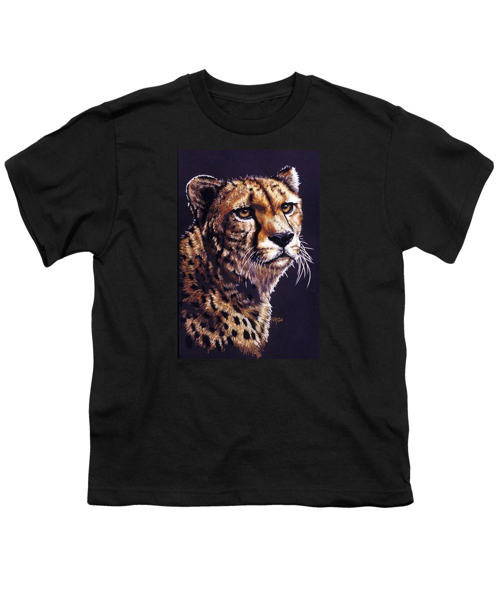Cheetah Youth T-Shirt featuring the drawing Movin On by Barbara Keith