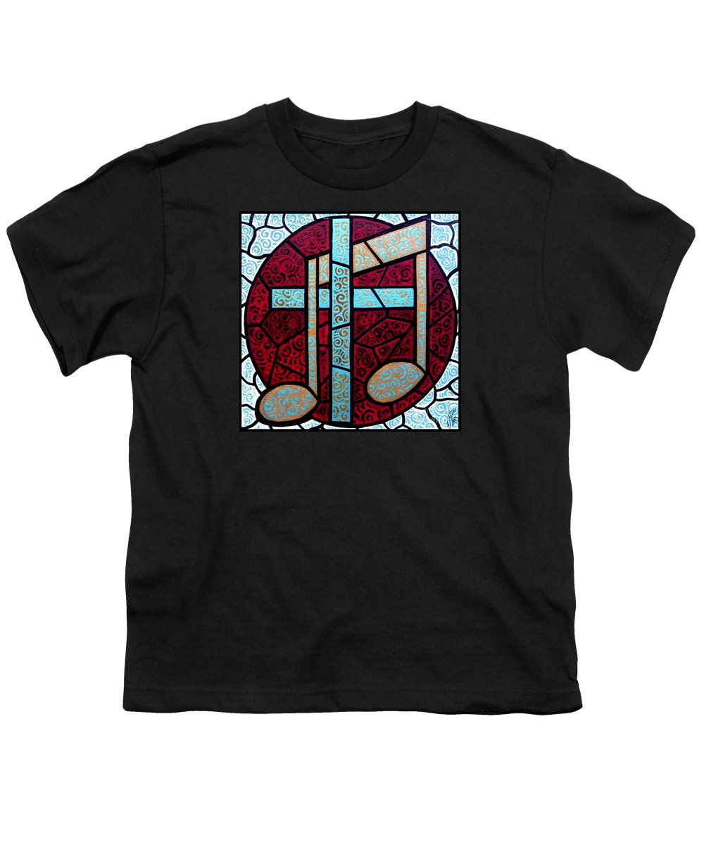 Cross Youth T-Shirt featuring the painting Music Of The Cross by Jim Harris