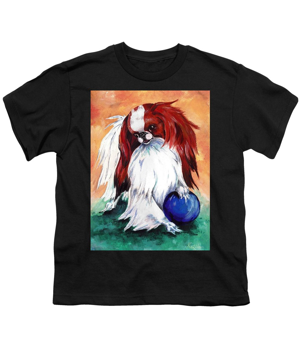 Japanese Chin Youth T-Shirt featuring the painting My Ball by Kathleen Sepulveda