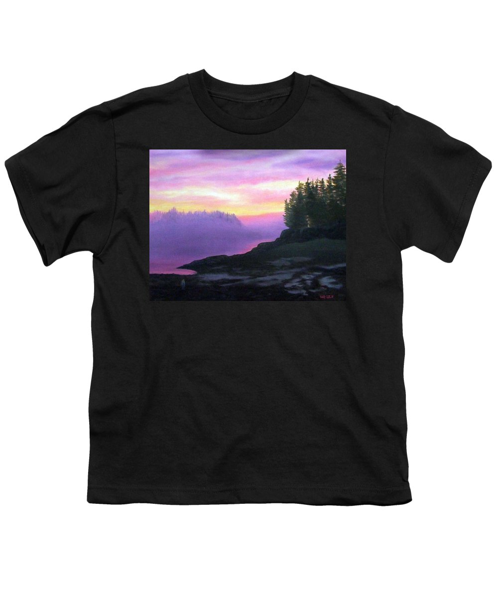 Sunset Youth T-Shirt featuring the painting Mystical Sunset by Sharon E Allen