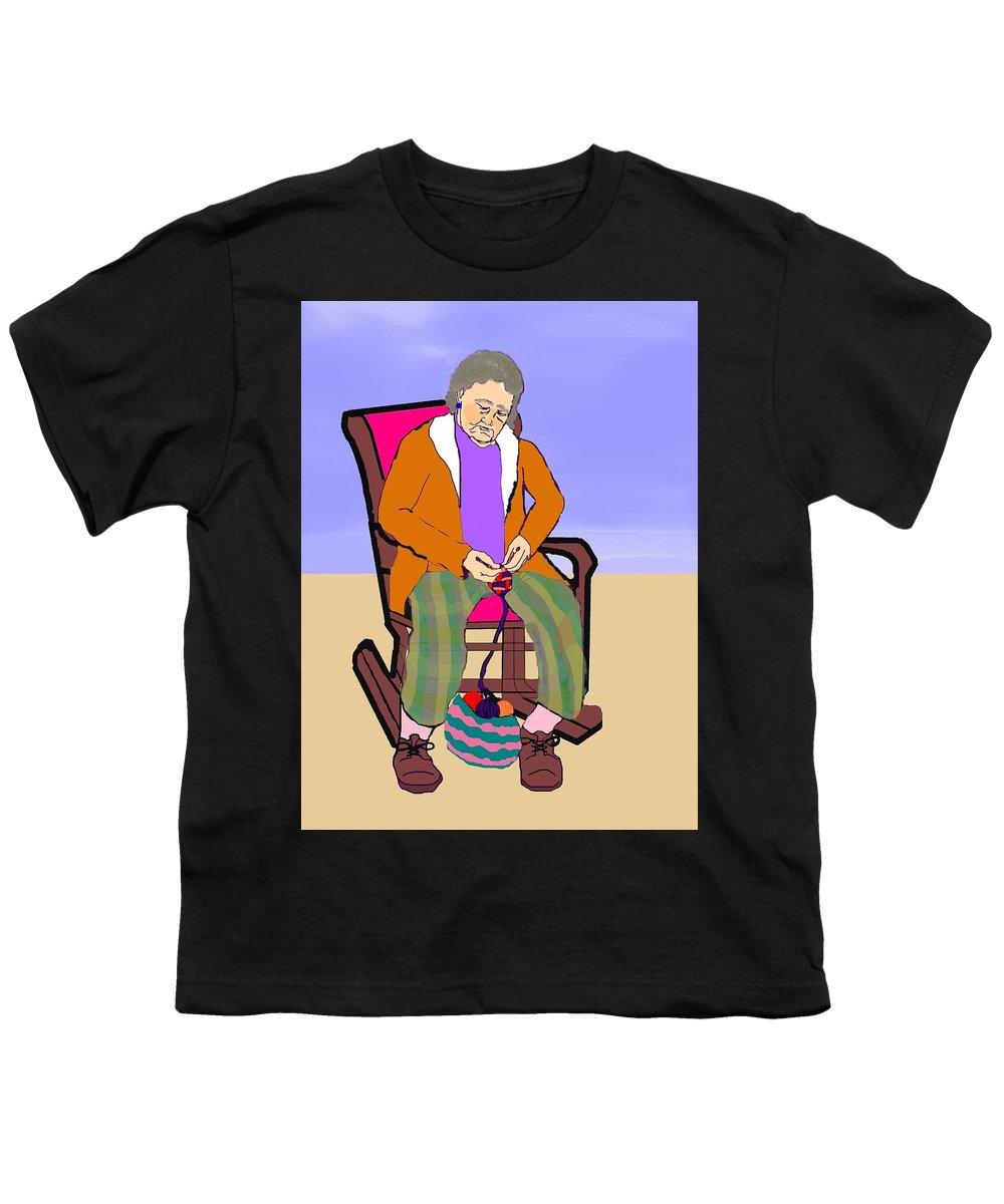 Grandmother Youth T-Shirt featuring the digital art Nana Knitting by Pharris Art