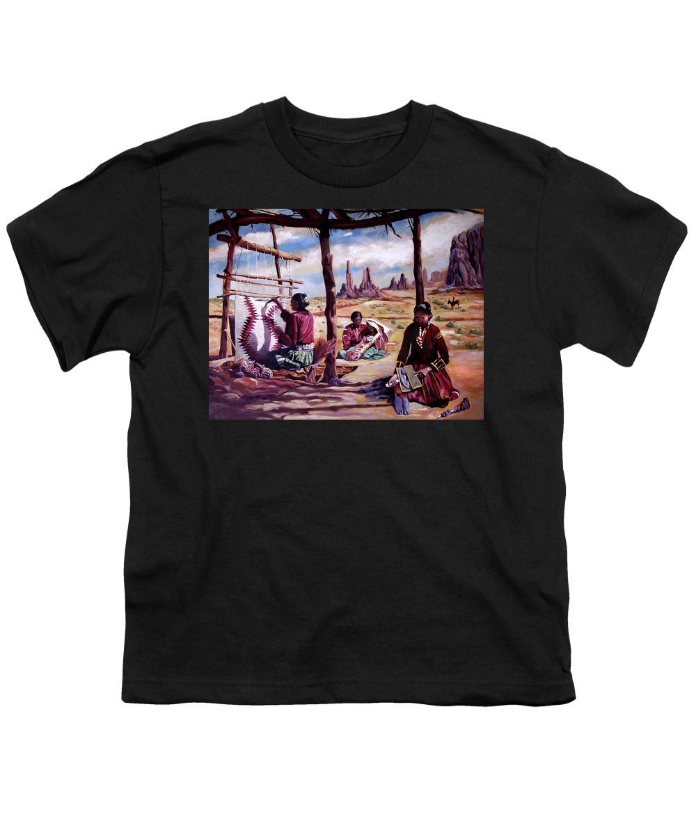 Native American Youth T-Shirt featuring the painting Navajo Weavers by Nancy Griswold