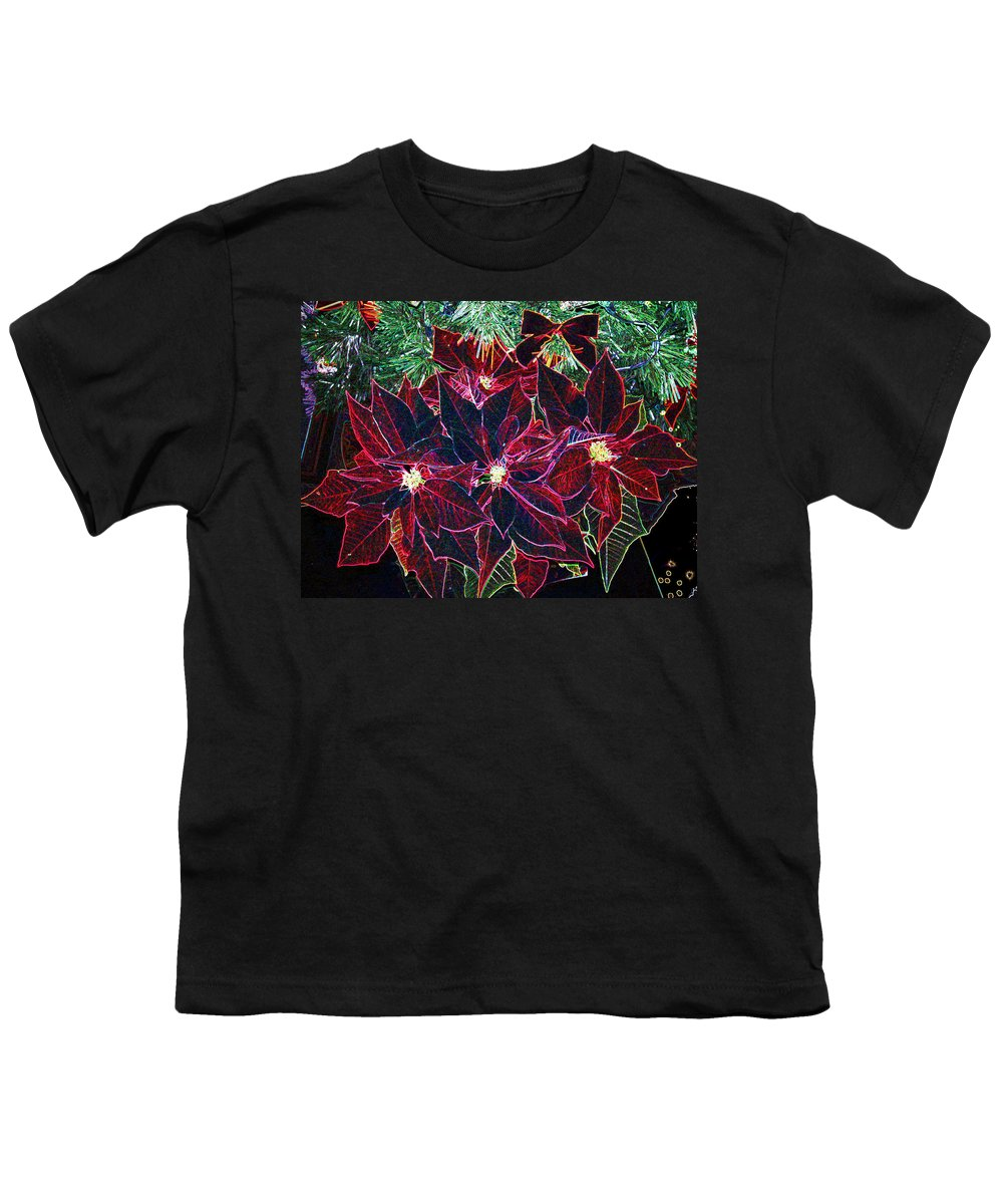 Flowers Youth T-Shirt featuring the photograph Neon Poinsettias by Nancy Mueller