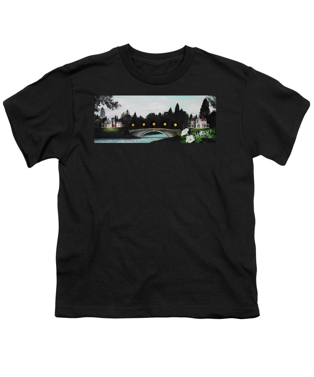 Architecture Youth T-Shirt featuring the painting Night Bridge by Melissa A Benson