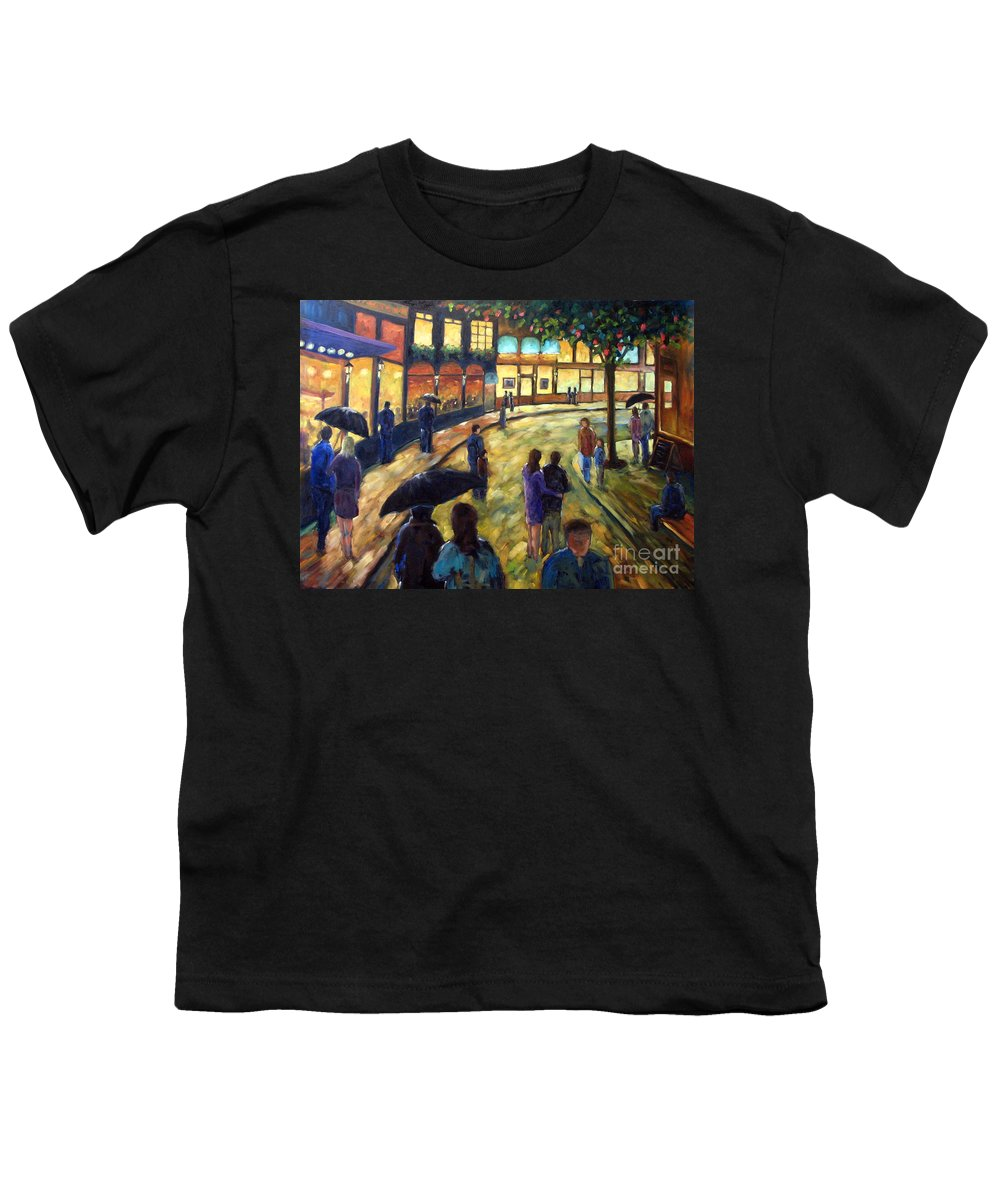 Cityscape Youth T-Shirt featuring the painting Night On The Town by Richard T Pranke