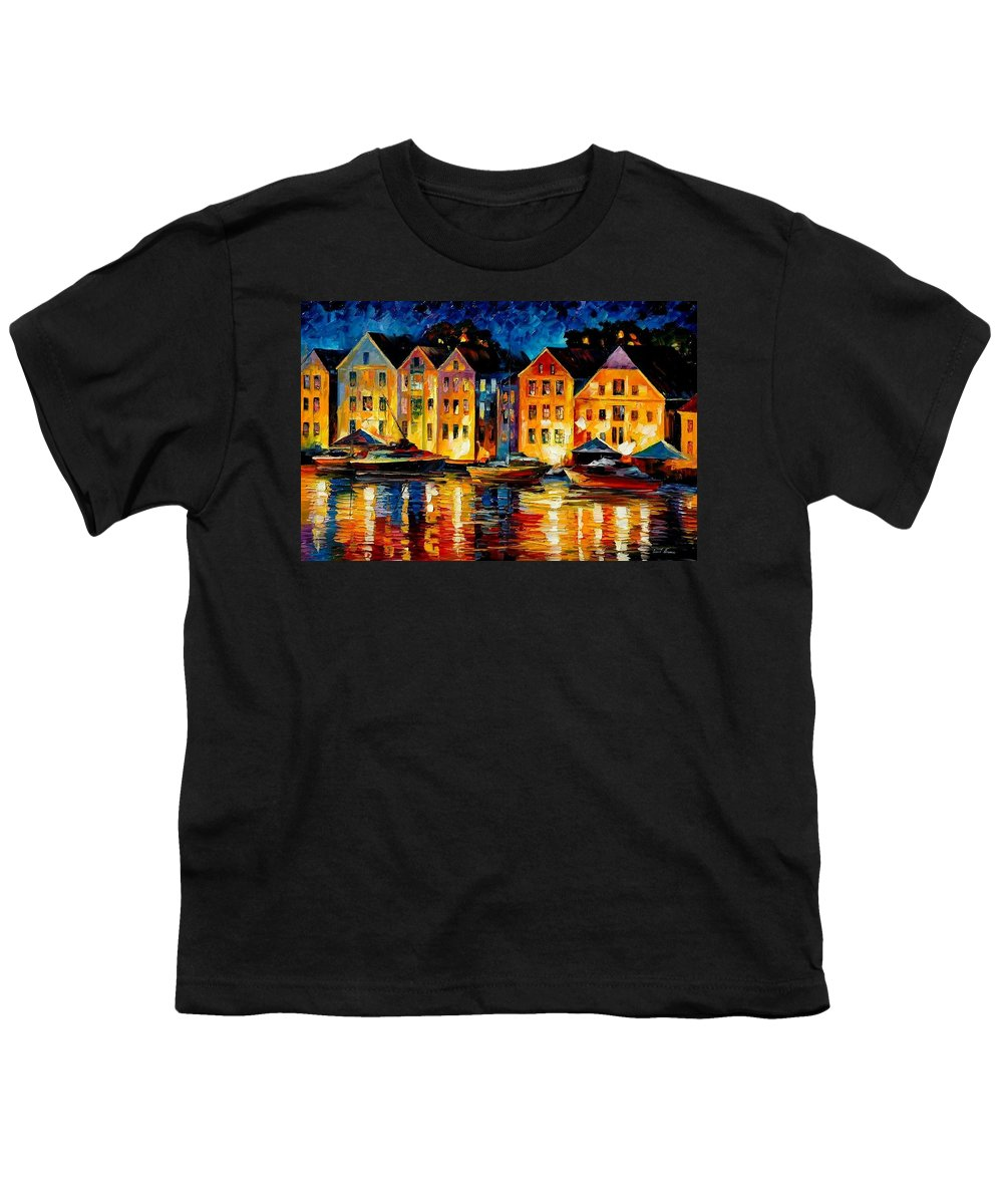 City Youth T-Shirt featuring the painting Night Resting Original Oil Painting by Leonid Afremov