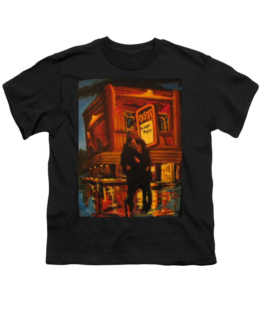 Wet Streets Youth T-Shirt featuring the painting No Longer Playing by John Malone