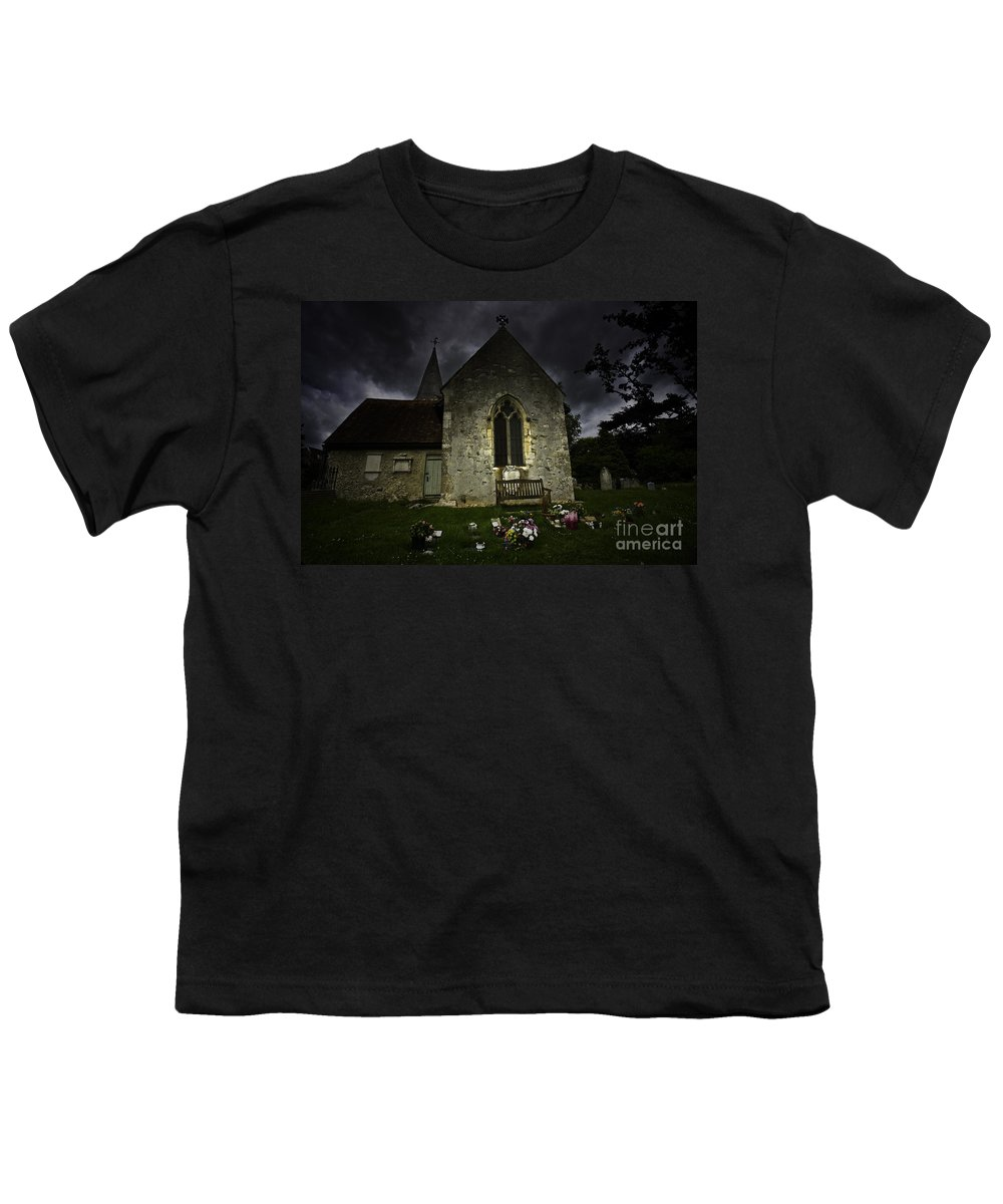 Church Youth T-Shirt featuring the photograph Norman Church At Lissing Hampshire England by Sheila Smart Fine Art Photography
