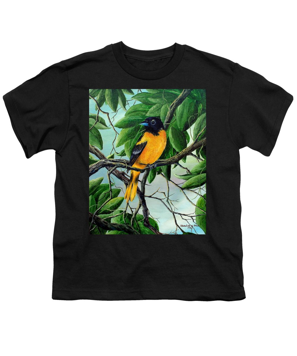 Oriole Youth T-Shirt featuring the painting Northern Oriole by David G Paul