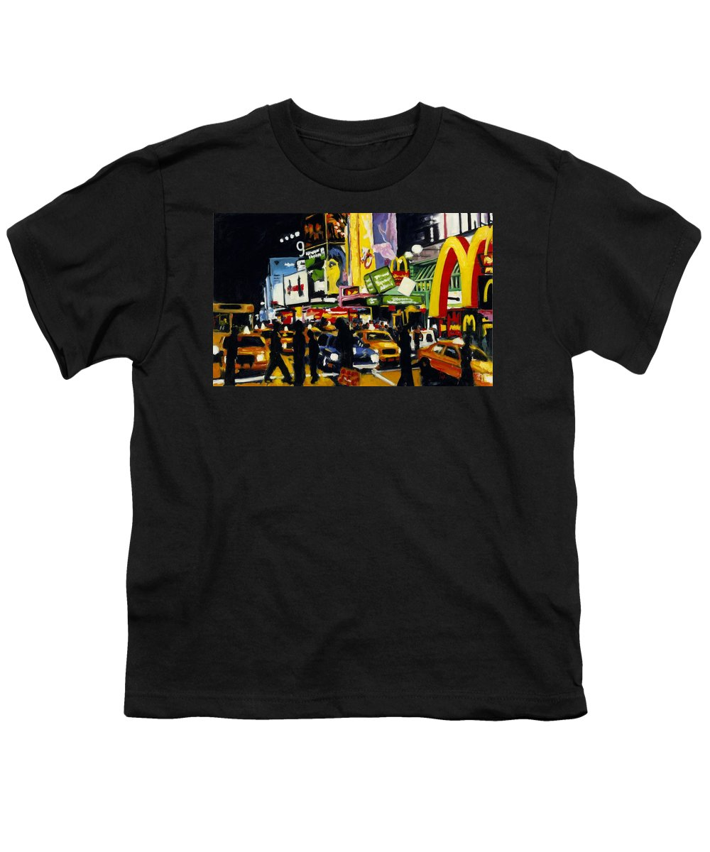 New York Youth T-Shirt featuring the painting Nyc II The Temple Of M by Robert Reeves